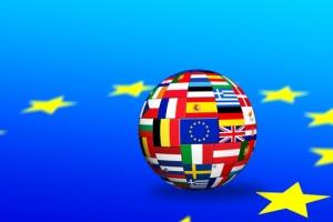 Flags of EU countries on globe sphere ball
